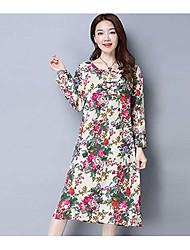 Mujer Vaina Vestido NocheFloral Escote Redondo Midi Manga Larga Algodón Primavera Tiro Medio Microelástico Fino Medio