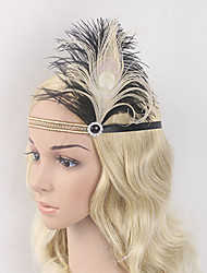 Women's Peacock Feather/Beads Elasticity Headpiece-Special Occasion/Party Flowers 1 Piece Headdress Hair Band Hair Accessories Black