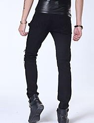 The new spring men's punk style Korean Slim pants feet long pants black and white teenagers