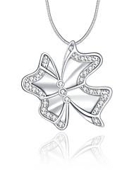 Женский Ожерелья с подвесками Кристалл Стерлинговое серебро Хрусталь Имитация Алмазный В форме бантаУникальный дизайн С логотипом В виде