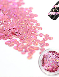 1 Bottle Fashion Sweet Style Pink Laser Glitter Stripe Round Paillette Beautiful Nail Glitter Decoration Nail DIY Beauty Shiny Clear Thin Slice TW11