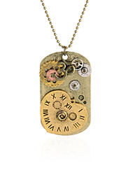 Vintage Pendant Necklace Gear Charm Steampunk Necklaces-Heart Clock Dog Tag