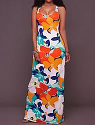 Femme Dos Nu Gaine Robe Sortie Vacances simple,Fleur Col Arrondi Maxi Sans Manches Polyester Eté Taille Normale Non Elastique Moyen