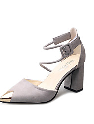 Women's Heels Club Shoes PU Spring Summer Dress Party & Evening Club Shoes Buckle Metallic toe Chunky Heel Black Gray 3in-3 3/4in
