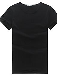 Men's Beach Simple Shirt,Solid Round Neck Short Sleeve Cotton