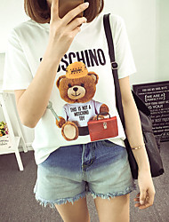 Sign European leg fashion new cartoon pattern printed short-sleeved T-shirt loose women's Teddy Bear