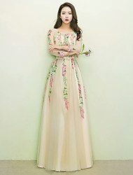 Formal Evening Dress A-line Jewel Floor-length Lace with Sash / Ribbon