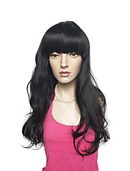 Deep Wave Synthetic Fiber Wig Long Black Hair Heat Wig Costume Wig For Women