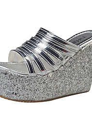 Damen-Sandalen-Outddor-Schweineleder-Keilabsatz-Komfort-Gold Schwarz Silber