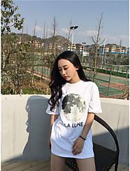 assinar t-shirt da lua selvagem preto e branco de mangas curtas maré feminino