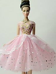 Princesse Robes Pour Poupée Barbie Couleur Pleine Robes Pour Fille de Jouets DIY