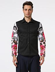 Masculino Camisa Social Casual Bandagem Férias SimplesEstampado Algodão Colarinho de Camisa Manga Longa