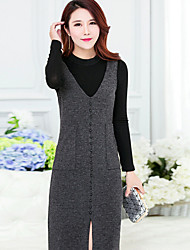 Women's Going out A Line Dress,Solid Round Neck Knee-length Long Sleeve Silk Spring Mid Rise Micro-elastic Medium