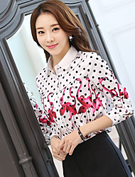 Sign SOLO Korea Sign 2017 spring new Slim POLO collar long-sleeved Flamingo Polka Dot lining