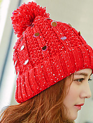Women Stretch Sequins Printing Fluff Ball Velvet Plus Cashmere Knitting Wool Knit Outdoor Winter Hat