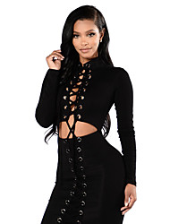 Women's Going out Bodycon Dress,Solid Round Neck Above Knee Long Sleeve Faux Fur All Seasons Low Rise Stretchy Medium