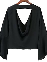 Souhaite aliexpress ebay europe nouveau chemisier v-cou profond veste chemise manches en trompettiste en mousseline de soie