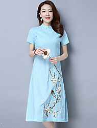 Spring new national wind retro ladies cotton dress embroidered cheongsam dress Chinese style