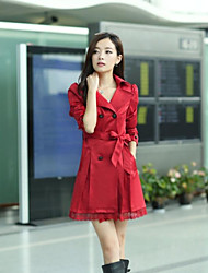 The new spring and autumn jacket Korean Slim lace coat big yards long section