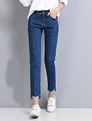 Women's Loose Jeans Pants,Casual/Daily Street chic Solid High Rise Zipper Button Cotton Polyester Inelastic Spring Summer