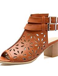 Feminino-Sandálias-Chanel Buraco Shoes-Salto Grosso Salto de bloco--Courino-Ar-Livre Social Casual