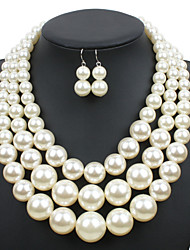 Jewelry 1 Necklace 1 Pair of Earrings Pearl Necklace Euramerican Wedding Party Special Occasion Daily Casual Pearl 1set WhiteWedding