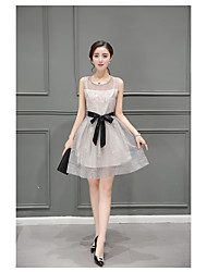 2017 summer new Korean Slim significantly thin fragrant wind A word long section dress in organza skirt