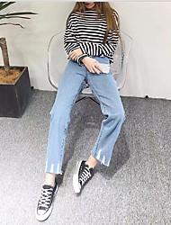 подписать сингапурских ~ новая весна высокая талия цвет света прямые свободные заусенцы джинсовые широкие брюки ноги брюки расклешенные
