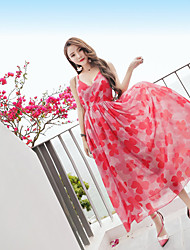 Summer new women's sleeveless halter strap dress chiffon dress bohemian seaside resort beach skirt
