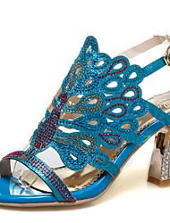 Women's Sandals Summer Club Shoes Glitter Customized Materials Wedding Party & Evening Dress Chunky Heel Rhinestone Buckle