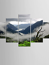Giclee Print Landscape Modern Traditional,Five Panels Canvas Any Shape Print Wall Decor For Home Decoration