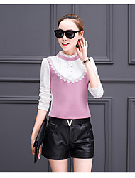 assinar 2017 blusas primavera gaze shirt Slim manga comprida mulheres rendas colarinho da camisa -