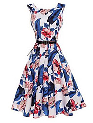 Women's Going out A Line Dress,Floral Round Neck Knee-length Sleeveless Cotton Polyester Spring Summer Mid Rise Micro-elastic Thin
