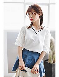 Version coréenne en été 2017 de la simple chemise à bascule sauvage et en V à bascule blanche à manches courtes blouses