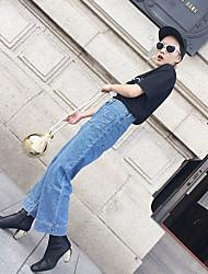 signo 2017 de primavera y otoño nuevos jeans de moda coreano cintura suelta los pantalones de pierna ancha cuerno