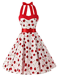 Women's Rockabilly Vintage DressWhite Cherry Floral Halter Knee-length Sleeveless Cotton All Seasons Mid Rise