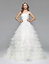 Salón Un Hombro Capilla Satén Tul Vestido de novia con Cuentas Flor Recogido Lateral por LAN TING BRIDE®