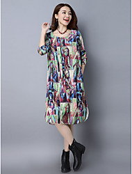 2017 spring new Korean printing large size loose corduroy long-sleeved dress long section