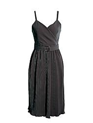 Signo hanguo qiu invierno retro delgado era delgado plisado cuello en V vestido negro y largo honda secciones
