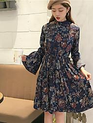Signer une grande robe en manche longue robe à motifs floraux
