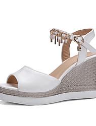 Women's Sandals Summer Fall Club Shoes PU Wedding Office & Career Dress Wedge Heel Rhinestone Buckle Chain