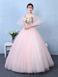 Formal Evening Dress Ball Gown Scoop Floor-length Tulle with Appliques