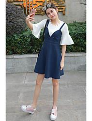 2017 modelos de primavera de compras corea de las niñas en edad de vestir con cuello en V vestido de la cintura de la falda de mezclilla