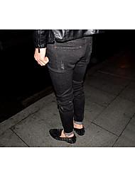 Homme Street Chic Vintage Taille Basse Micro-élastique Jeans Pantalon,Droite Couleur Pleine