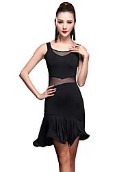 Werden wir Latin Tanz Kleider Frauen Spandex 1 Stück Tanz Kostüm
