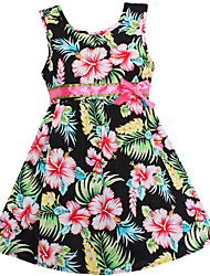 Girls Summer Dress Black Flower Print Cotton Dresses Party Pageant Casual Baby Kids Clothes