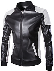Collar PU Leather Black And White Motorcycle Jacket