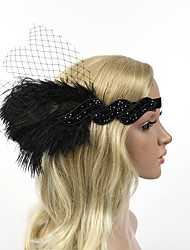 Women's Peacock Feather/Beads Mesh Elasticity Headpiece-Special Occasion/Party Flowers 1 Piece Headdress Hair Band Hair Accessories Black