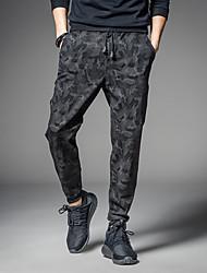 Masculino Simples Cintura Média Com Elástico Chinos Calças,Solto Camuflagem
