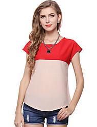 Damen Einfarbig Patchwork Einfach Lässig/Alltäglich T-shirt,Rundhalsausschnitt Sommer Kurzarm Polyester Dünn Lichtdurchlässig